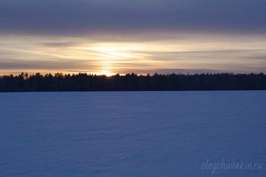 Зимний закат, фото