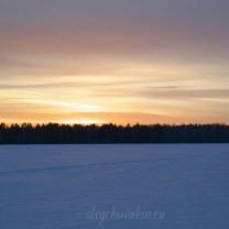 Красивый закат, зима, фотография