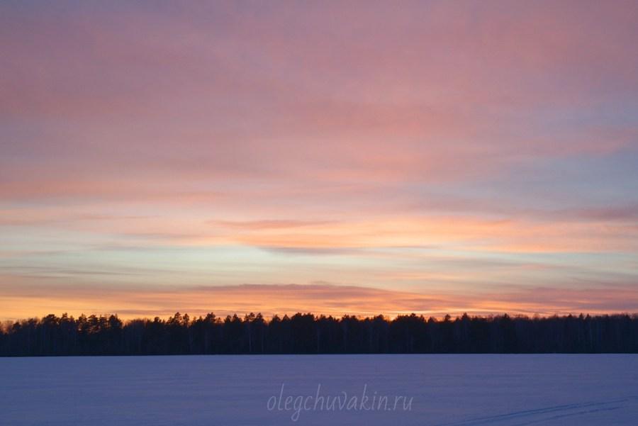Закат красивый, фото, зима