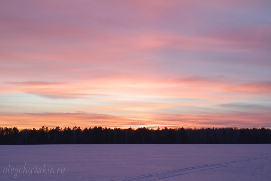Красный закат, зима, фото