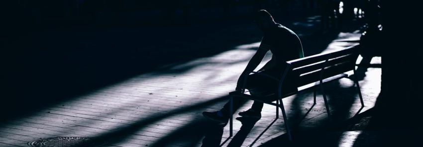 Человек, парк, скамейка, сидит, фото