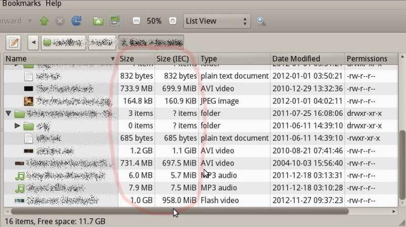 Единицы МЭК и СИ, файловый менеджер Caja, Ubuntu