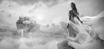 Фея, белое платье, небо, ладонь, рассказ