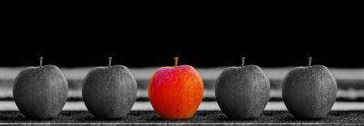 Неповторимость, уникальность, отличие от других, серые яблоки и красное, выделяющееся из серой массы
