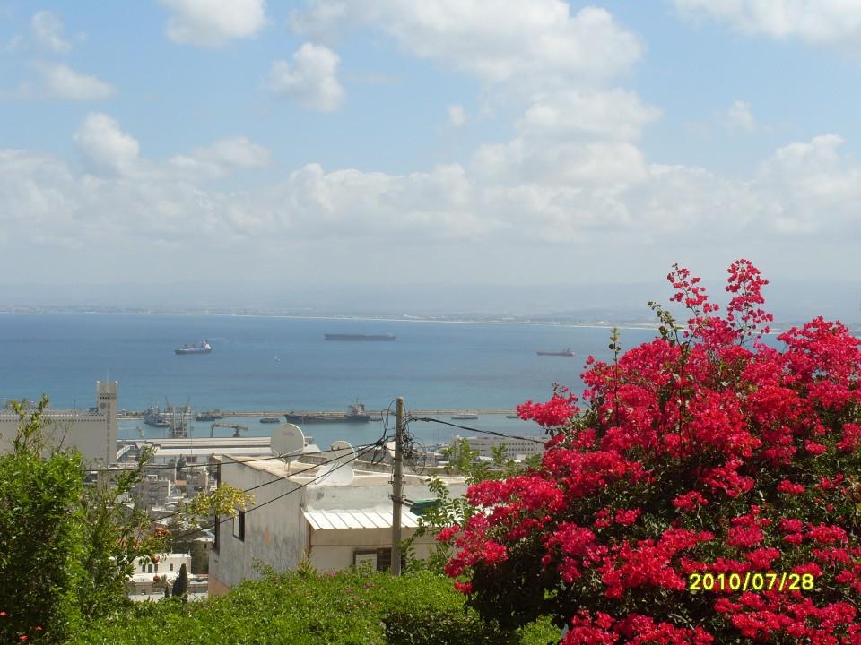 Порт Хайфы с Бахайских садов