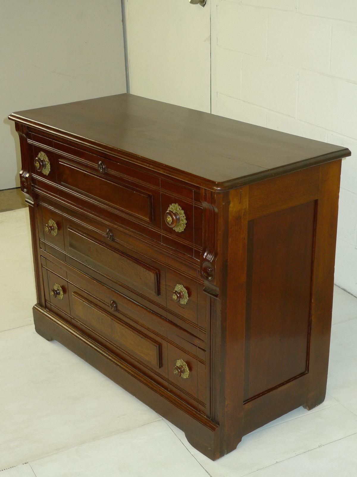 Victorian Eastlake Period Walnut Chest Of Drawers Dresser Victorian Eastlake Period Walnut