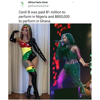 Cardi was paid $1million for performance