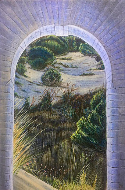 Painting of Sand Dunes of Coto Donana viewed through a stone Arch