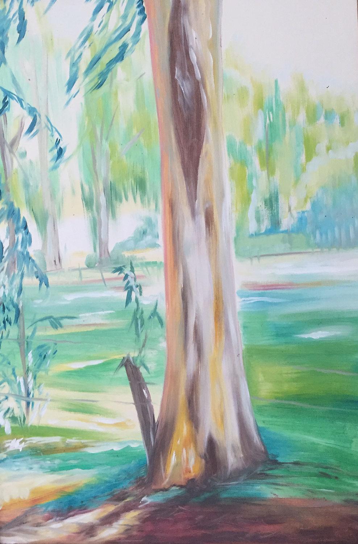 Eucalyptus Trunk Direct Painting