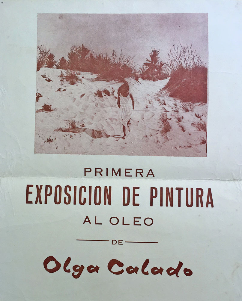 Poster First Exhibition of Olga Calado It shows an image of a Sand Dunes painting