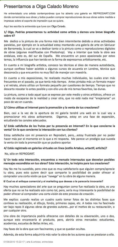 Olga Calado interview for Reprodart