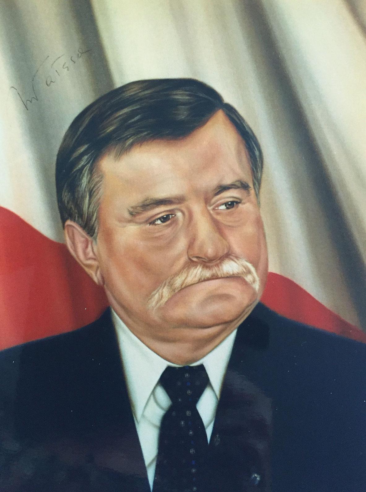 Portrait of Lech Walesa former president of Poland
