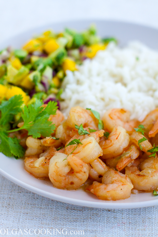 Honey Garlic Shrimp with Mango Salsa