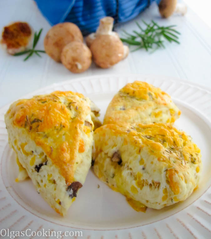 savory and delicious rosemary and mushroom scones