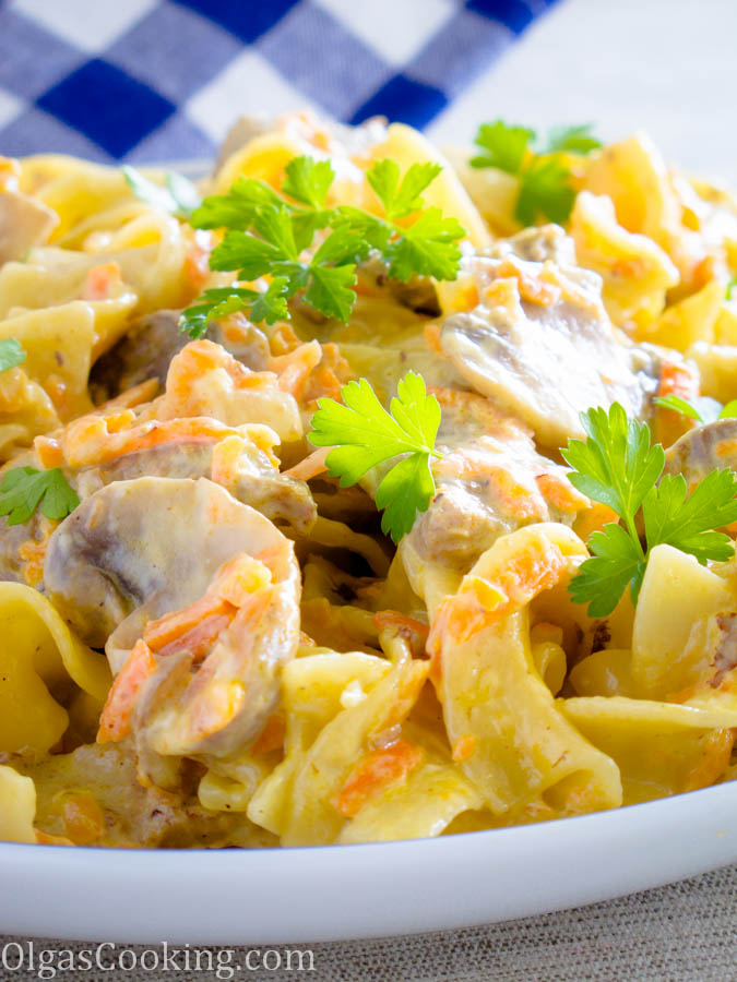 Creamy Wide Egg Noodles with Beef and Mushrooms