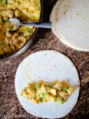 creamy, cheesy, mild chicken enchiladas