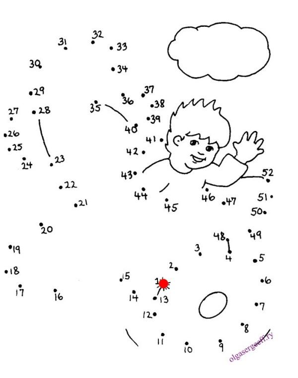Упражнения для детей «Соедини по точкам и раскрась» 1-7 ...