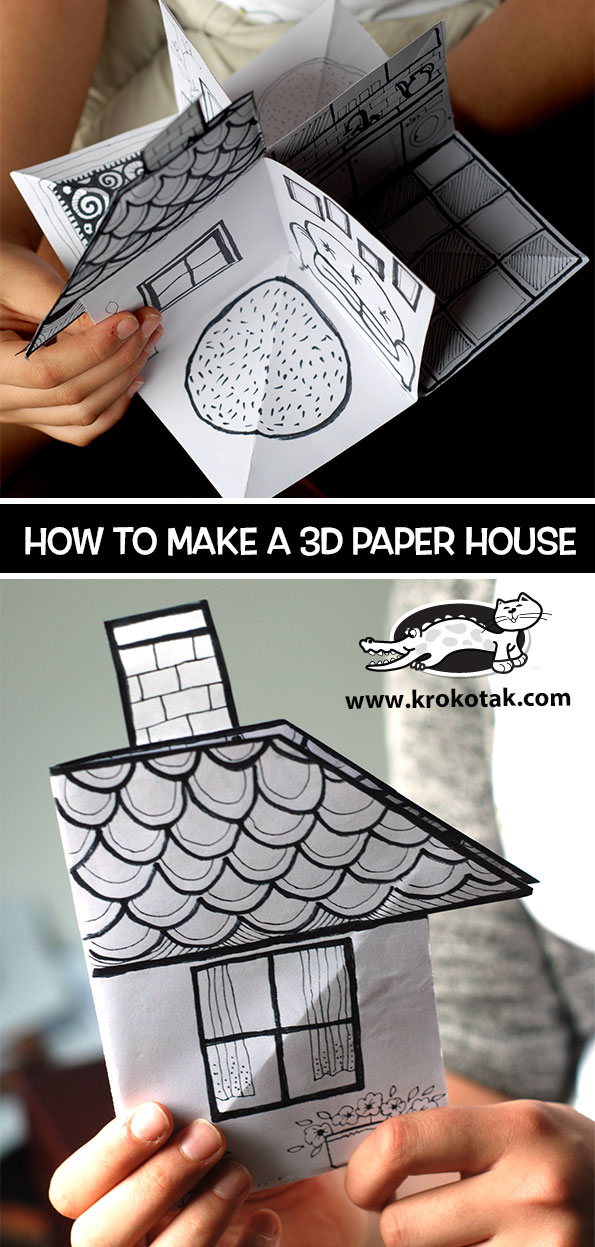 How to build a 3D Paper House…Summer Crafts for Kids