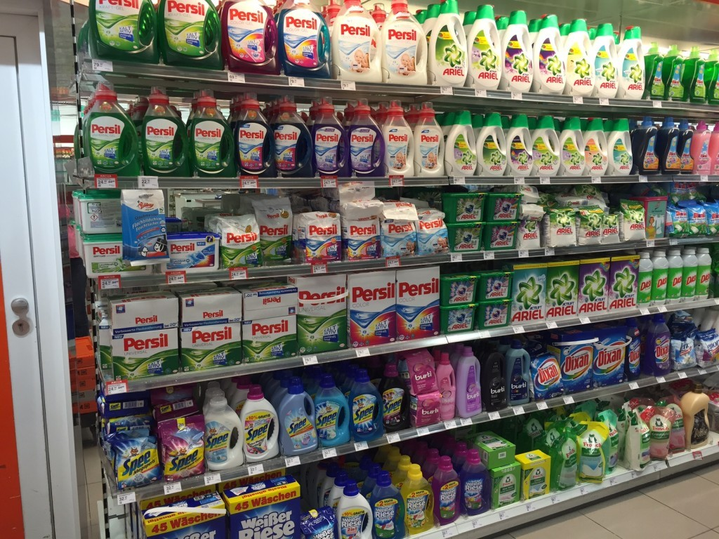 The detergent aisle of Mueller in Zagreb