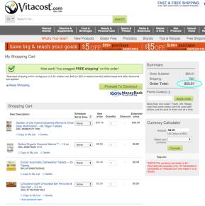 Vitacost cart total