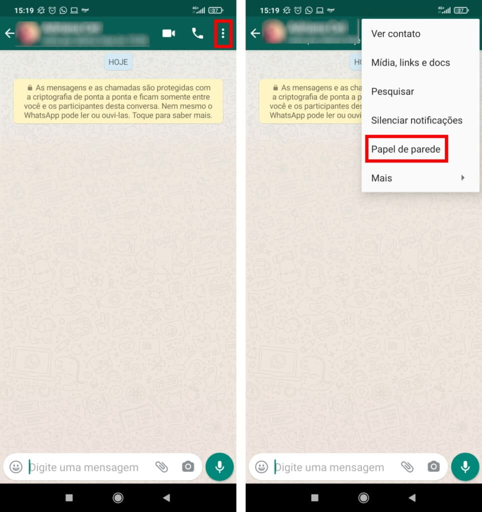 Como escolher um papel de parede diferente para cada conversa no WhatsApp - Passo 2