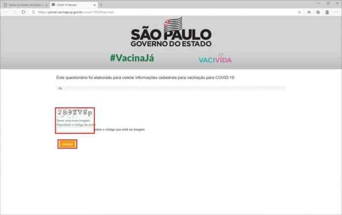 Como se cadastrar para a receber a vacina contra Covid-19 em São Paulo - Passo 2