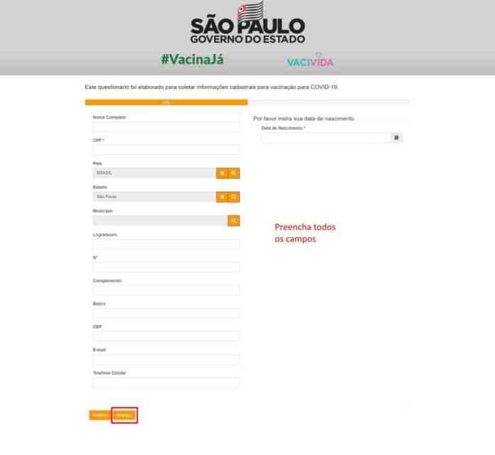 Como se cadastrar para a receber a vacina contra Covid-19 em São Paulo - Passo 3