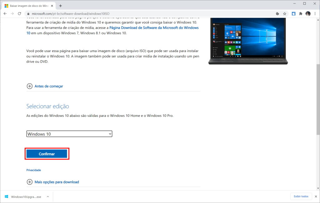 Como baixar a ISO do Windows 10 do site da Microsoft - Passo 6