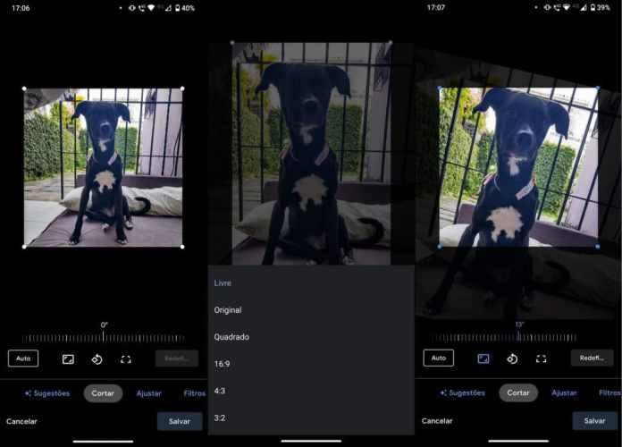 Ferramenta permite cortar a imagem escolhida