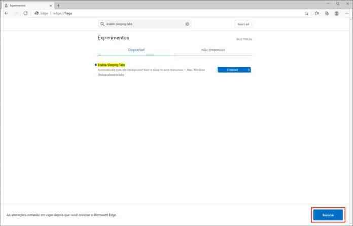 Como ativar o recurso de guias inativas do Microsoft Edge - Passo 5