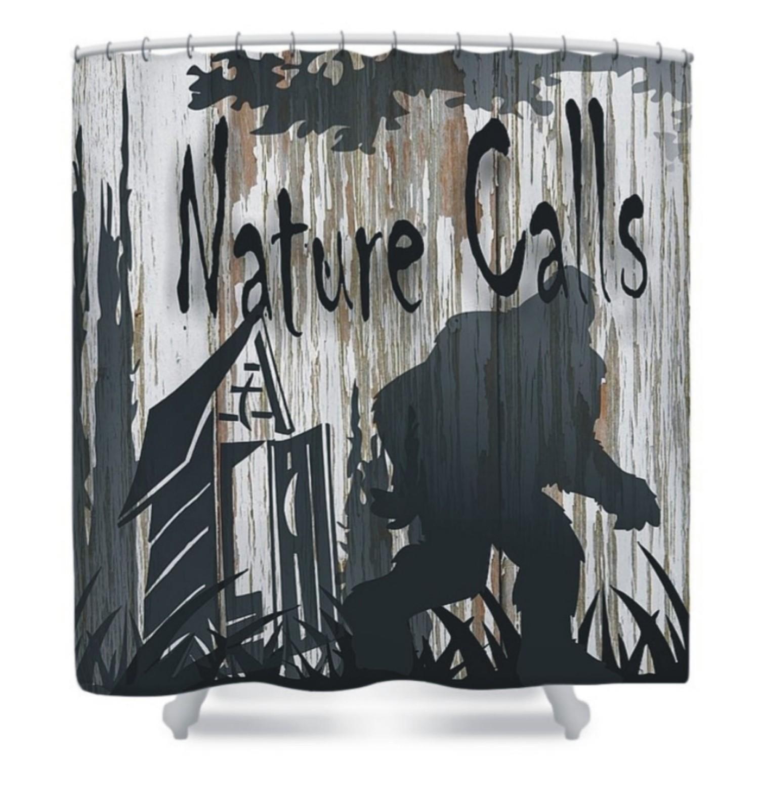bigfoot nature calls shower curtain