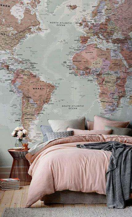 Decoração para quem ama viajar: Papel de parede de mapa: