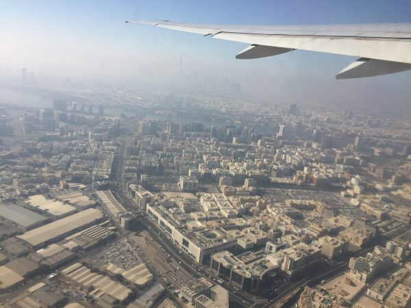 over dubai on the emirates plane