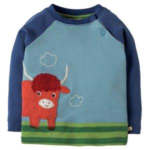 Shirt van organisch katoen met Schotse koe applicatie