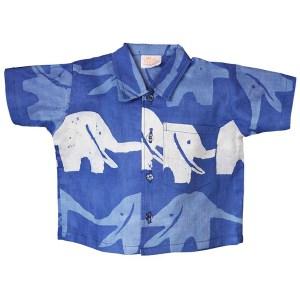 Shirt van Afrikaanse batik met olifanten