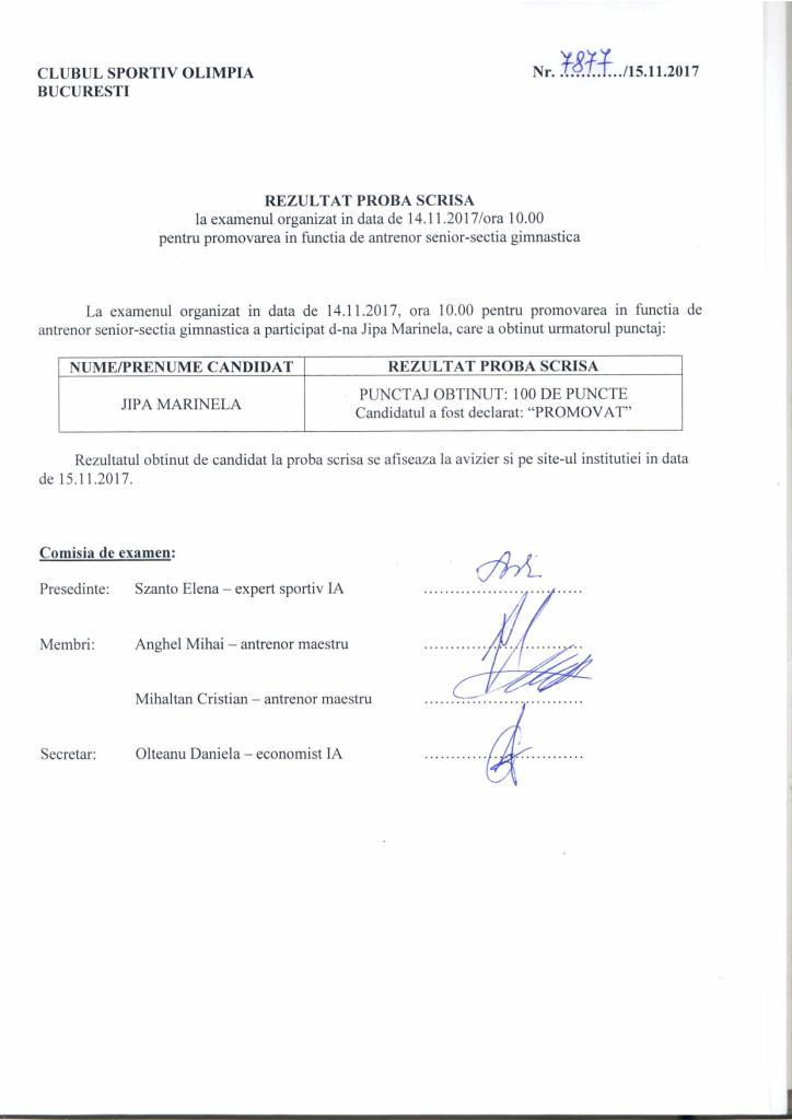 REZULTAT PROBA SCRISA GIMNASTICA - Rezultat proba scrisa examen promovare antrenor gimnastica
