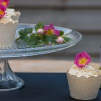 Rosewater Cupcakes Decorated with Real Roses