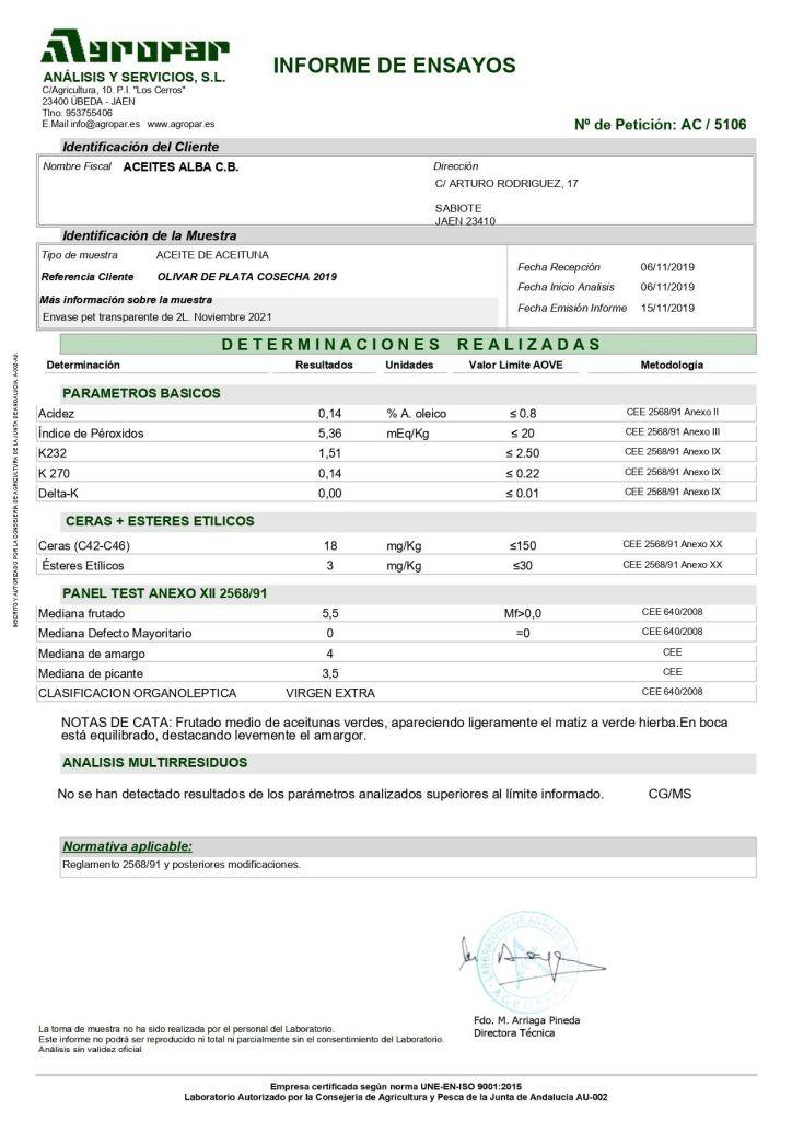 analisis aove olivar de plata 2019