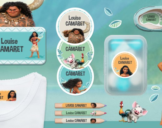 Etiquettes Disney Vaiana de Ludilabel