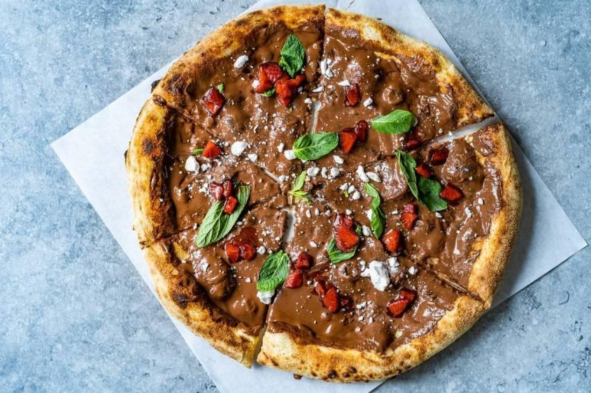 pizza sucrée royalie chocolat fraise menthe