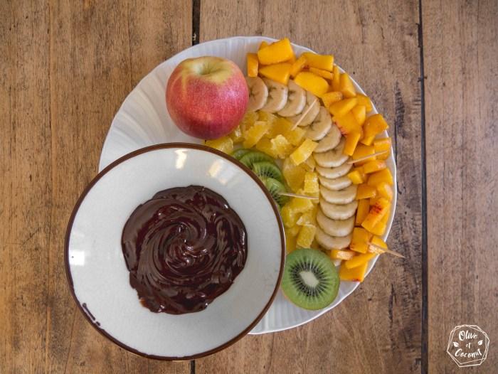 Fondue vegan au chocolat et fruits