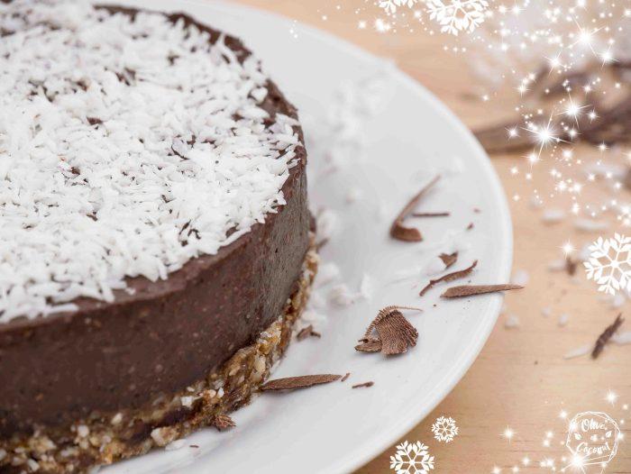 Gâteau Choco-Coco Noël Vegan Cru et Sans Gluten