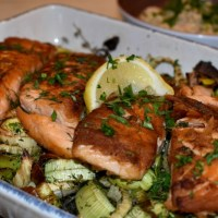 Crispy Salmon over Roasted Leeks and Fennel
