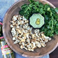Cilantro Chimichurri Aioli Dip with Roasted Cauliflower Bites