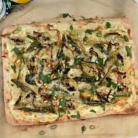 Charred Scallion and Artichoke Flammkuchen (German Pizza)