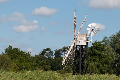 An open trestle drainage windpump at How Hill.