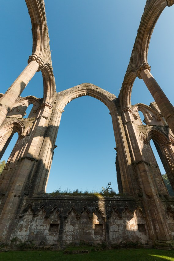 The central window arch in the Chapel of 9 Altars. Photos from National Trust Fountains Abbey and Studley Royal Water Garden, in North Yorkshire.