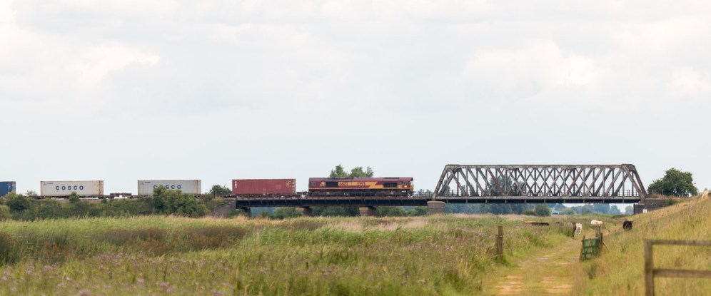 Freight train heading out on to the line that runs over the washes. Photos from RSPB Ouse Washes on July 13th 2016.