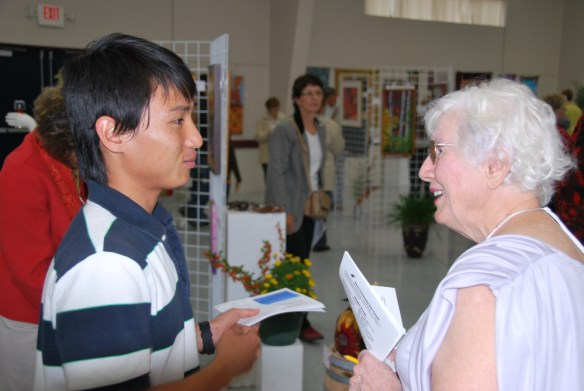 Enid Baker with Korean Visitor
