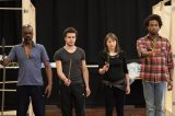 Kevin N Golding, Oliver Johnstone, Jenny Fennessy and Marcus Griffiths in rehearsal for Cymbeline. Photo by Ellie Kurttz - (C) RSC